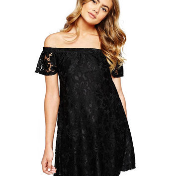 Off-shoulder Short Sleeve Embroidery Lace A-Line Pleated Mini Dress