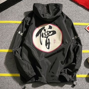 The new spring 2017 couples monk word printing hooded men's students wind plus-size coat white/black/navy jacket package mail