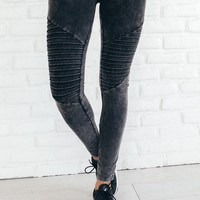 Black Washed Out Ribbed Leggings