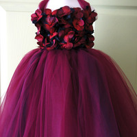 Flower girl dress Red and Black tutu dress, flower top, hydrangea top, toddler tutu dress