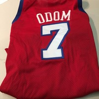 LAMAR ODOM #7 CLIPPERS AUTHENTIC RED CHAMPION VINTAGE NBA JERSEY SHIPPING