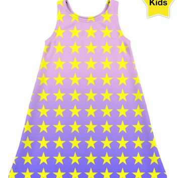 ROCD Pink Blue Ombre Stars Children's Dress