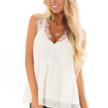 Off White Lace Chiffon Blouse