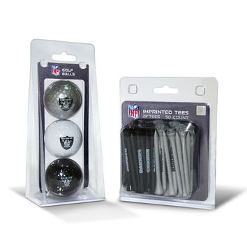 Oakland Raiders 3 Ball Pack and 50 Tee Pack