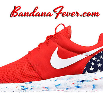 "Nike ""USA Stars"" Roshe Run Men's Challenge Red/White + FREE SHIPPING - by Bandana Fever"