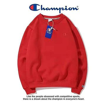 Champion Fashion New Bust Embroidery Logo Couple Keep Warm Long Sleeve Sweater Top Red