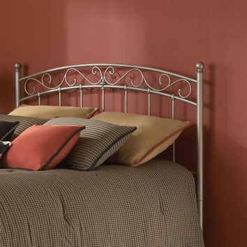 King size Arched Metal Headboard with Decorative Scrolling Design