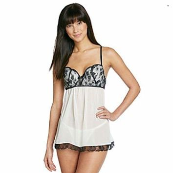Linea Donatella Molded Cup Chiffon Babydoll Polyester Chemise 2PC Ivory S M XL