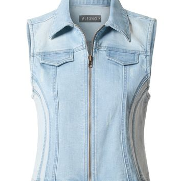 LE3NO Womens Vintage Distressed Cropped Zipper Front Contrast Denim Vest