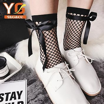 Japanese Ribbon Bowknot Tie Band Net Socks Women Harajuku Sweety Pile Heap Socks Lace socks Girl fish mesh Net Socks