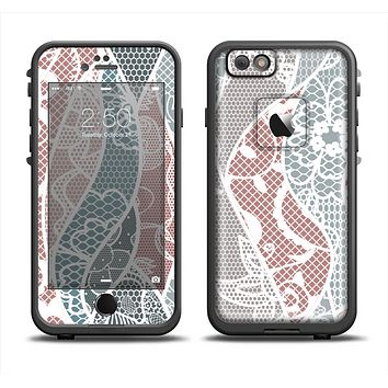 The Brown and Teal Lace Design Apple iPhone 6/6s Plus LifeProof Fre Case Skin Set