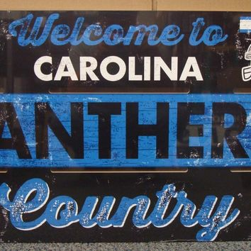 "CAROLINA PANTHERS WELCOME TO PANTHERS COUNTRY WOOD SIGN 19""X30'' NEW WINCRAFT"