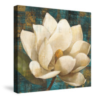 Magnolia Blossom Turquoise Canvas Wall Art