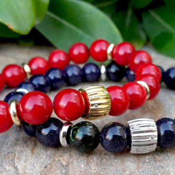 Couples Gemstone Gold Bracelets, His & Hers Gemstone Jewelry, Red Coral, Blue Goldstone, Absorbs Negative Energy, Protection, Love, Passion