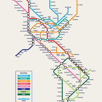 Americas Metro Map Canvas Art Print