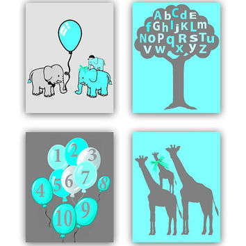 Safari Nursery Decor, Elephants Family Wall Art, Giraffe Family, Letters & Numbers Nursery Art, Zoo Nursery Decor, Animals Nursery Wall Art