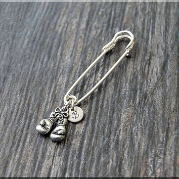 Silver Personalized Boxing Gloves Charm Kilt Pin, Initial Charm Scarf Pin, Fighter Charm Brooch, Letter Pin, Personalize Safety Pin Brooch