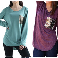 Women's Casual Fashion Sequins Pocket T Shirt 2017 Spring O Neck Long Sleeve Loose Tops Pullover Solid t-shirts Plus Size M0185