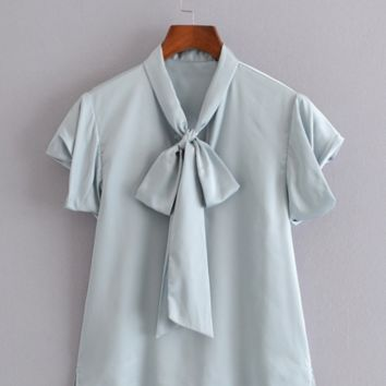 Summer new women's bow decorated fashion short-sleeved shirt