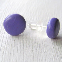 Polymer Clay Earrings - Polymer Clay Sutds - 10mm Purple Round Stud Earrings