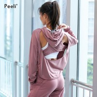 Peeli Backless Yoga Running Shirt Long Sleeve Yoga Tops Gym Clothes Running Jacket Coat Workout Women Sports Tops Activer Wear