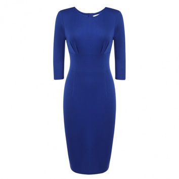 Women 3/4 Sleeve Solid Business Party Bodycon Pencil Dress