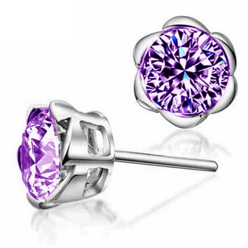 Plum Blossom Crystal Zircon Earring in 2 colors