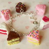 assorted cake slice charm bracelet
