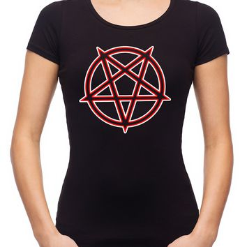 Unholy Inverted Ritual Pentagram Symbol Women's Babydoll Shirt Occult Clothing