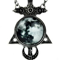 Full Moon Sword Cross Necklace Illuminati Crescent Occult Jewelry