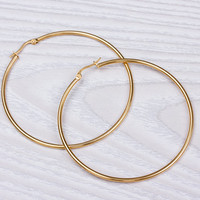 "Hoop earrings in Gold, Large hoop earrings, Gold earrings, Boho Hoop earrings, Minimalist earrings, Everyday earrings, Hoops, ""Potameides"""