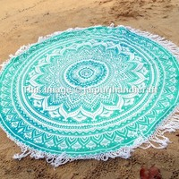 Ombre Round Mandala Tassel Fringing Beach Throw Roundie Yoga Mat Table Cloth Hippy Hippie Boho Gypsy Beach Towel wall hanging