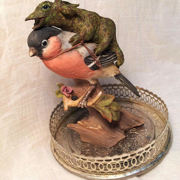 Handmade  Sculpture. Mossbore, Rider of the Great Finch. Fantasy Art with Unique and Magical Story