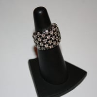Cocktail Ring Vintage Sterling Silver and Hematite Chunky Ring Size 5.25- free ship US
