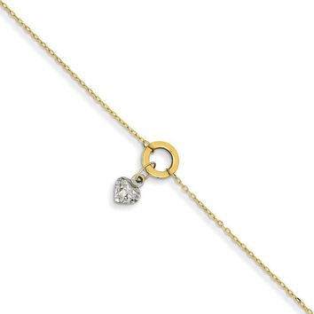 14kt Yellow Gold 9 Inch Open Circlet Dangle Heart Charm Ankle Bracelet