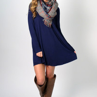 Jess Long Sleeve T-Shirt Dress: Navy