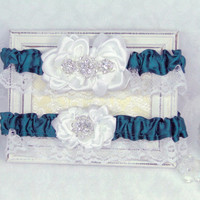Ready To Ship Garter Keepsake and Toss Teal Green and White Satin Roses Rhinestone Buttons Vintage Inspired  Shabby Chic