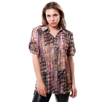 BFDADI 2016 Summer Loose Casual Net yarn fabric Woman's Blouse Gradient foil print Short Sleeve Long Blouse Plus size Tops 3217