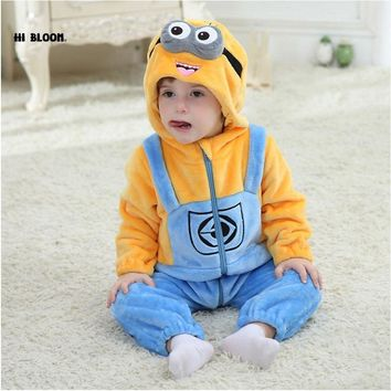Easter Baby Clothing Flannel Winter Baby Jumpsuit Romper For Girl Boy Soft Minion Hello Kitty Cosplay Costume For 0-2Y Infant