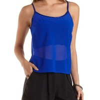 Beaded Strappy Swing Crop Top by Charlotte Russe