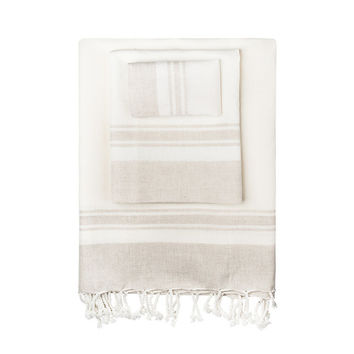 Linen-Blend Classic Turkish Peshtemal Towel