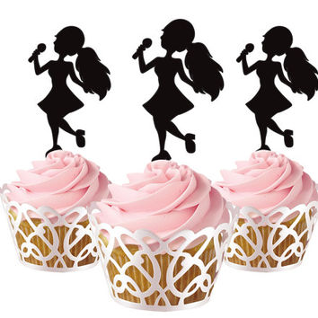 6 pcs in one set little girl singing CupCake toppers for party decor, baby girl shower party cupcake topper acrylic, gift for birthday