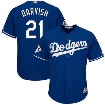 Men's Los Angeles Dodgers Yu Darvish Majestic Royal 2017 World Series Bound Cool Base Player Jersey