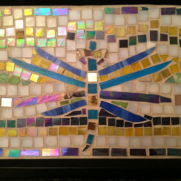 Mother's Day Gift Idea, Dragonfly Tray, Mosaic Art, Housewarming,  Serving, Home Decor, Gold, Purple, For Her, Wedding Gift