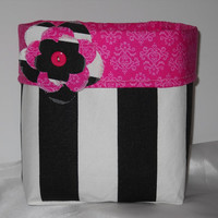 New, Large Black and White Stripe Fabric Basket With Detachable Flower Pin