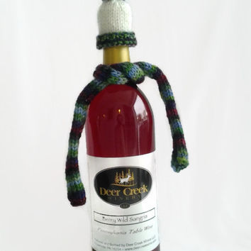 Wine Bottle Cozy, Wine Bottle Topper, Hand Dyed Yarn, Hand Knit, White Hat, Maroon, Green, Blue, Wine Hat and Scarf