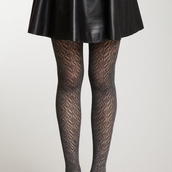 Charcoal Pointelle Tights