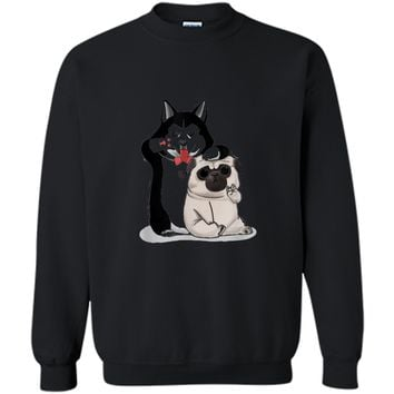 Funny Pug and Husky  Gift for Dog Lovers Printed Crewneck Pullover Sweatshirt