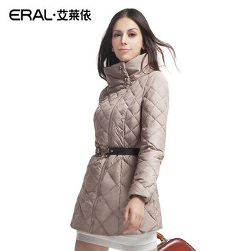 ERAL 2016 Winter Women's Slim Dimond Plaid Stand Collar Medium-long Down Coat Jacket ERAL6039D