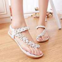 Women's Fashion Summer Sweet Beaded Floral Clip Toe Flat Bohemian Herringbone Sandal = 4776761284
